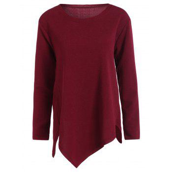 Plus Size Long Sleeve Handkerchief Top - WINE RED WINE RED