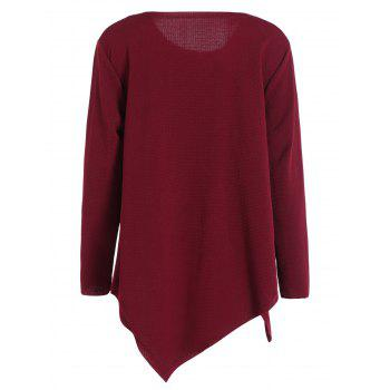 Plus Size Long Sleeve Handkerchief Top - WINE RED 2XL