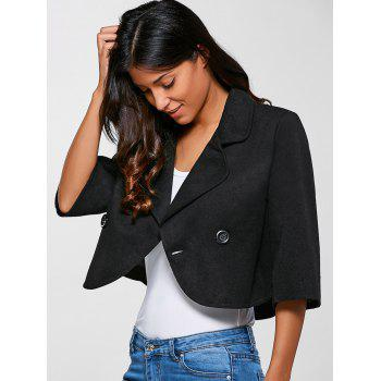 3/4 Sleeves Buttoned Jacket - BLACK M