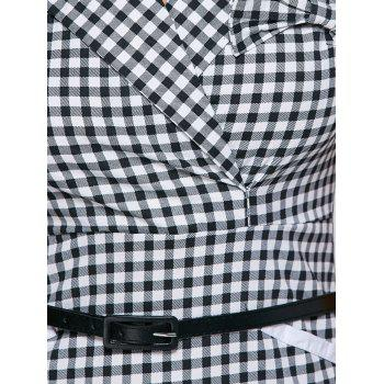 Surplice Gingham Belted Work Fitted Dress - BLACK 2XL