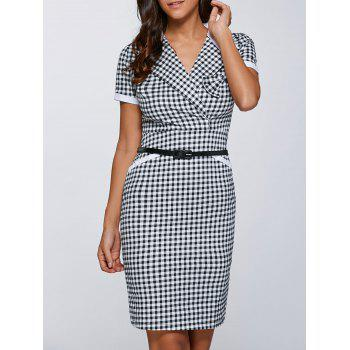Surplice Gingham Belted Dress