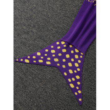 Confortable kintted Mermaid Cartoon Tail Blanket For Kids - Pourpre