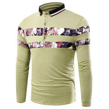 Stripe Turn-Down Collar Long Sleeve Floral Print Splicing T-Shirt