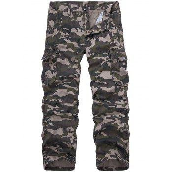 Plus Size Straight Leg Camouflage Multi-Pocket Design Pants