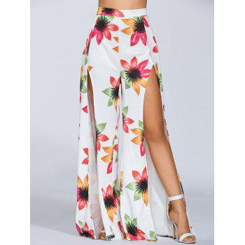 High Slit Flower Print Palazzo Pants