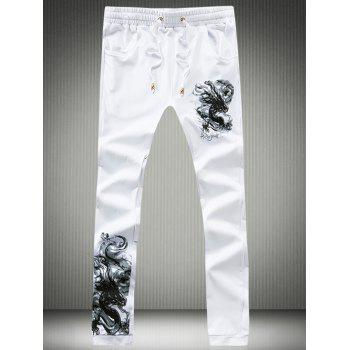 Lace-Up Beam Feet Dragon Calligraphy Print Jogger Pants