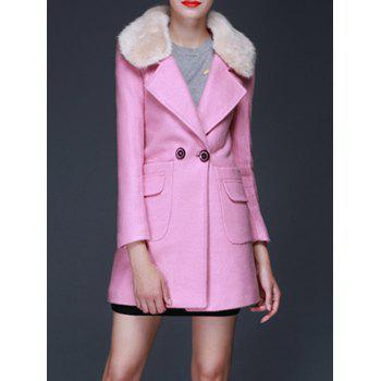 Fur Collar Wool Blend Coat