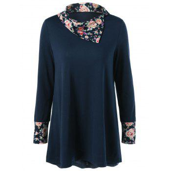 Side Collar Floral Trim Blouse