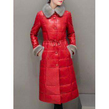 Fur Trim PU Leather Maxi Long Down Coat