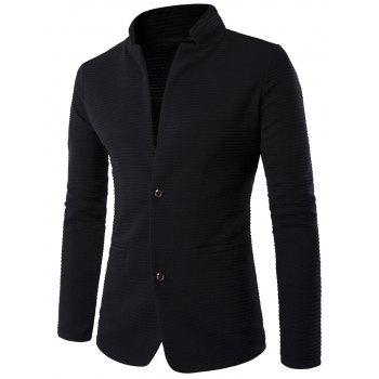 Stand Collar Rib Single-Breasted Elbow Patch Blazer