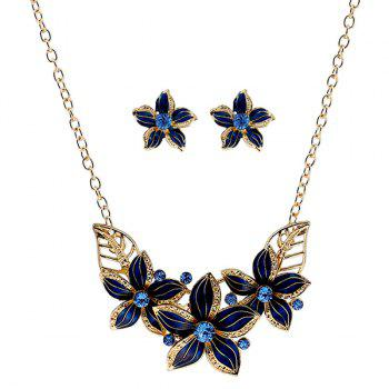 Flower Rhinestone Necklace and Earrings