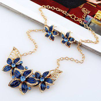 Flower Rhinestone Necklace and Earrings - BLUE