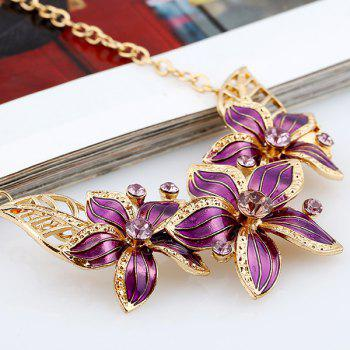 Flower Rhinestone Necklace and Earrings - PURPLE