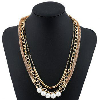 Artificial Pearl Alloy Chain Layered Necklace