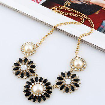 Faux Pearl Rhinestone Sunflower Pendant Necklace