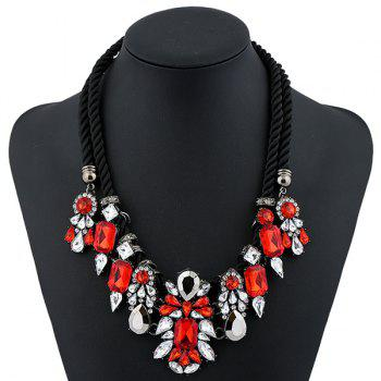 Artificial Gem Geometric Water Drop Necklace - RED