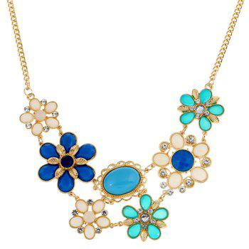 Faux Gem Flower Statement Necklace