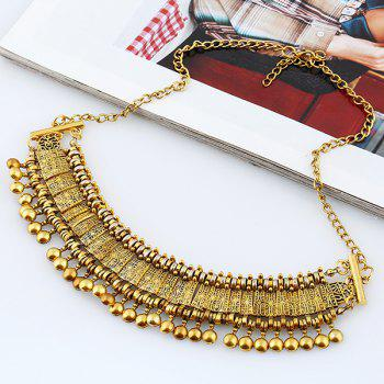 Engraved Alloy Geometric Beaded Necklace - GOLDEN