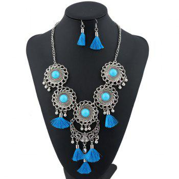 Tassel Floral Moon Layered Jewelry Set