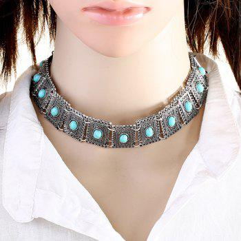 Artificial Turquoise Geometric Choker Necklace