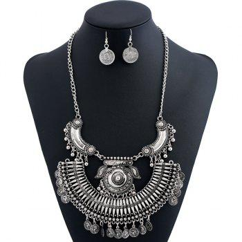 Engraved Coin Alloy Piggy Jewelry Set