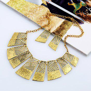 Geometric Hollow Out Jewelry Set - GOLDEN