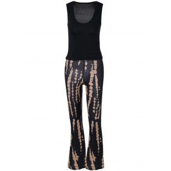Plung Tank Top and   Printed Boho Pants Set