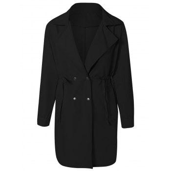 Drawstring Waist Double Breasted Long Trench Coat