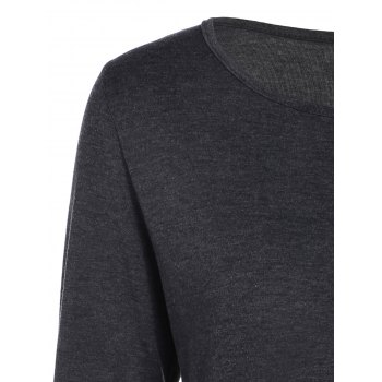 Layered Ruffles Long Sleeve T-Shirt - DEEP GRAY DEEP GRAY