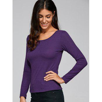 Long Sleeve Cut Out Fitting T-Shirt - PURPLE PURPLE