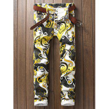Zipper Fly Ornate Printed Casual Pants