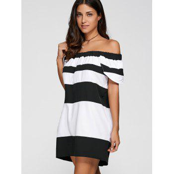 Off The Shoulder Color Block Striped Dress - WHITE/BLACK S