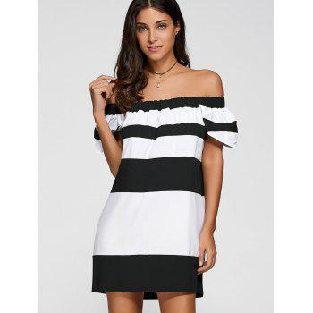 Off The Shoulder Color Block Striped Dress