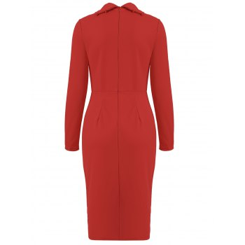 Turtle Neck Zippered Dress - RED S