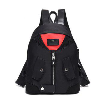 Colour Block Snap Closure Nylon Backpack