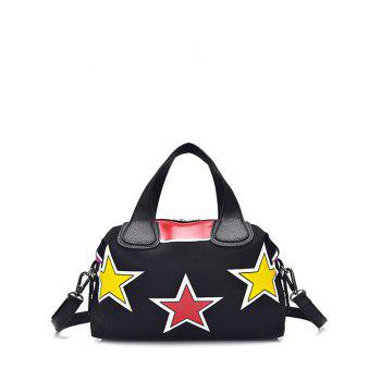 Zipper Color Spliced Star Pattern Tote Bag