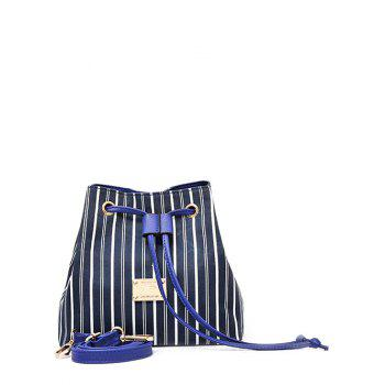 Striped Pattern Colour Block Drawstring Crossbody Bag