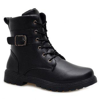 Tie Up Buckle Strap Zipper Boots