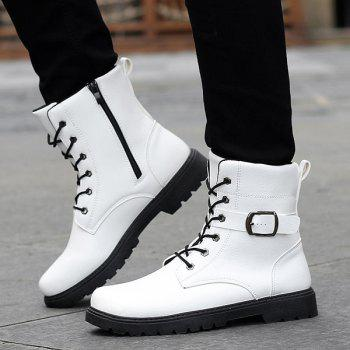 Tie Up Buckle Strap Zipper Boots - WHITE 43