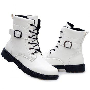 Tie Up Buckle Strap Zipper Boots - WHITE 40
