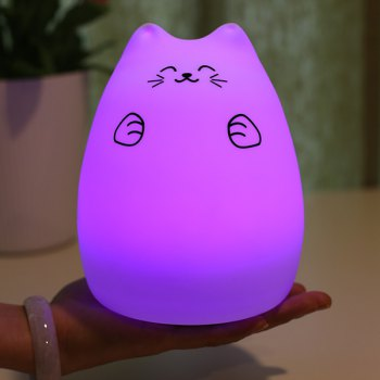 Cat Cartoon Colorful Ombre LED Touching Night Light -  WHITE