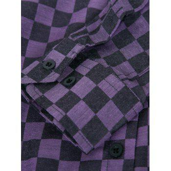 Long Sleeve Plaid Printed Single-Breasted Shirt - PURPLE XL
