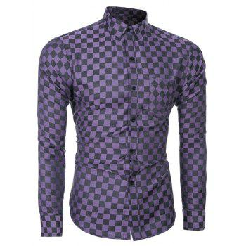 Long Sleeve Plaid Printed Single-Breasted Shirt - PURPLE PURPLE