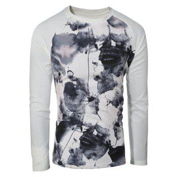 Splatter Paint Printed Round Neck Sweatshirt