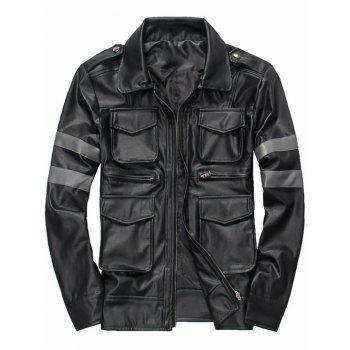 Multi-Pocket Embellished Epaulet Design Zip-Up PU-Leather Jacket