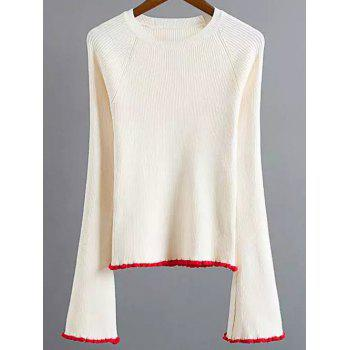 Flare Sleeve Stretchy Color Block Knitwear