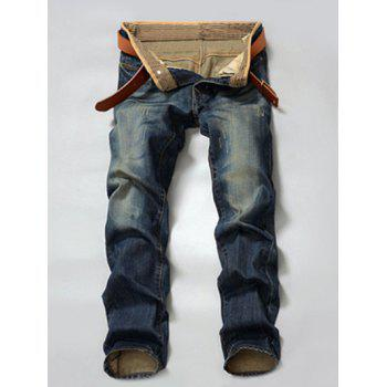 Zipper Fly Pocket Rivet Scratched Straight Leg Jeans