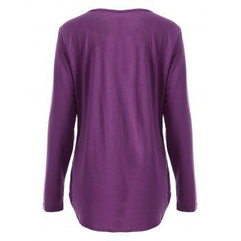 Chic Long Sleeve Scoop Collar Sequined Women's T-Shirt - PURPLISH RED M