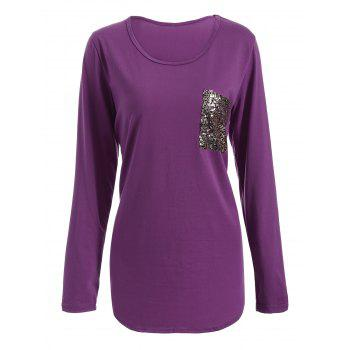 Chic Long Sleeve Scoop Collar Sequined Women's T-Shirt