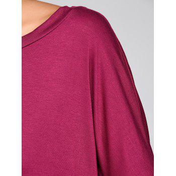 Drop Shoulder High Low Tunic T-Shirt - PURPLISH RED M